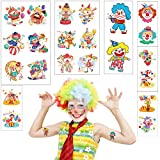 Fanoshon 22 PCS Clown Circus Temporary Tattoos for Kids Boys Girls - Carnival Baby Shower Birthday Party Supplies Under the Big Top Party Goodie Bag Stuffers Favors(7 Sheets)