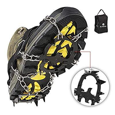 DR.PREPARE Ice Cleats, Ice Grippers & Crampons, Traction Cleats for Women Men Kids, Ice Spikes Snow Cleats Snow Grips for Shoes Boots, Ice Grips Microspikes, L (US Men 9-11 / US Women 10-12)