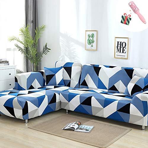 Funda Sofá de 3 plazas Universal Estiramiento, Morbuy Cubierta de Sofá Cubre Sofá Funda Furniture Protector Antideslizante Elastic Soft Sofa Couch Cover (3 plazas,Rompecabezas Azul)