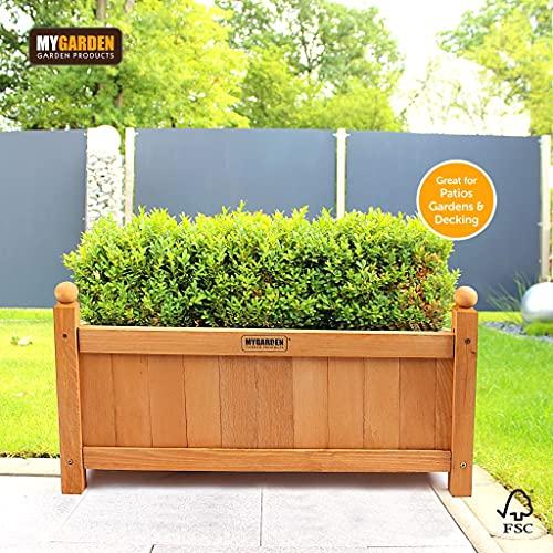 Vivo Wooden Garden Planter Indoor or Outdoor Plants Flowers Pot Rectangular Patio Decking - Medium