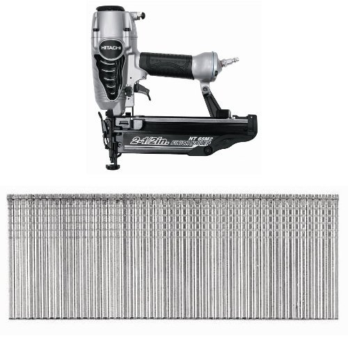 Hitachi NT65M2S 2-1/2-Inch 16-Gauge Finish Nailer and 2-Inch by 16 Gauge Finish Nail (2,500 per Box)