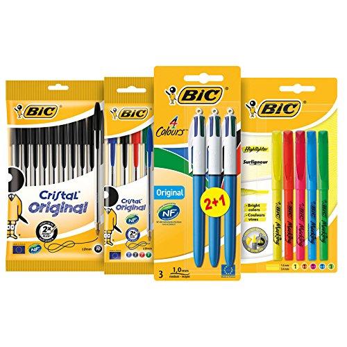 BIC schrijfwarenset voor school of kantoor – pennen set met 10x BIC Cristal balpen zwart, 4x BIC Cristal balpen bont, 3x BIC 4-kleuren balpen & 5 BIC Highlighter
