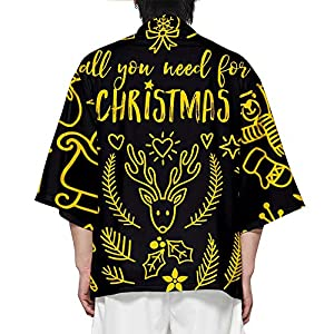 doublelovely Christmas 3D Printed Casual 3/4 Sleeve Kimono Cardigan Jacket Shirt for Men AMD Women