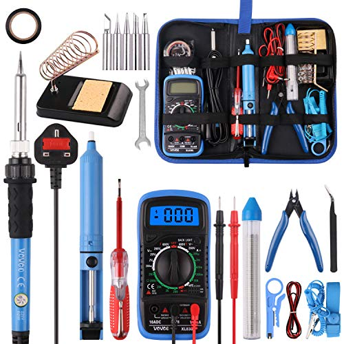 Soldering Iron Kit,WOWGO 60W Adjustable Temperature Welding Tools Set...