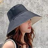 Volibear CRCOG La Sra Primavera y el Verano Gorra de Pescador paño del Sombrero del Color sólido de Doble Cara Sombrero for el Sol Sombrero de ala Plegable Grande CRCOG (Color : M Black, Size : M)