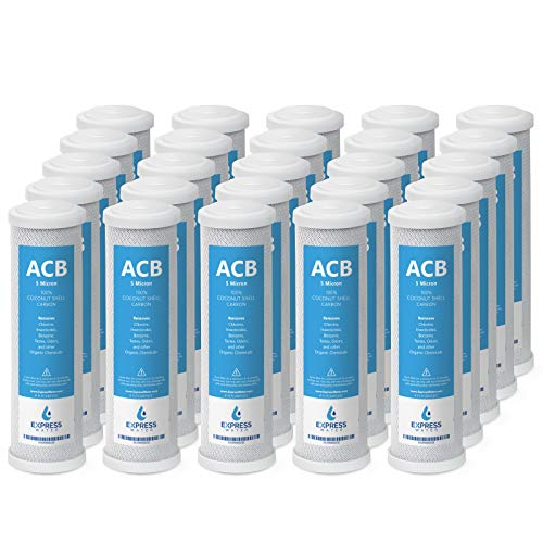 Express Water – 25 Pack Activated Carbon Block ACB Water Filter Replacement – 5 Micron, 10 inch Filter – Under Sink and Reverse Osmosis System
