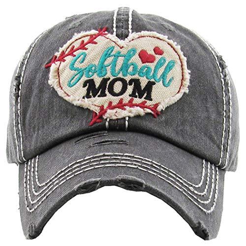 Distressed Baseball Cap Vintage Dad Hat - Softball Mom (Black)