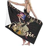 Grande Suave Ligero Toalla de Baño Manta,Personaje Rockabilly Boogie Vintage of Pinup Rock Girl Toca...