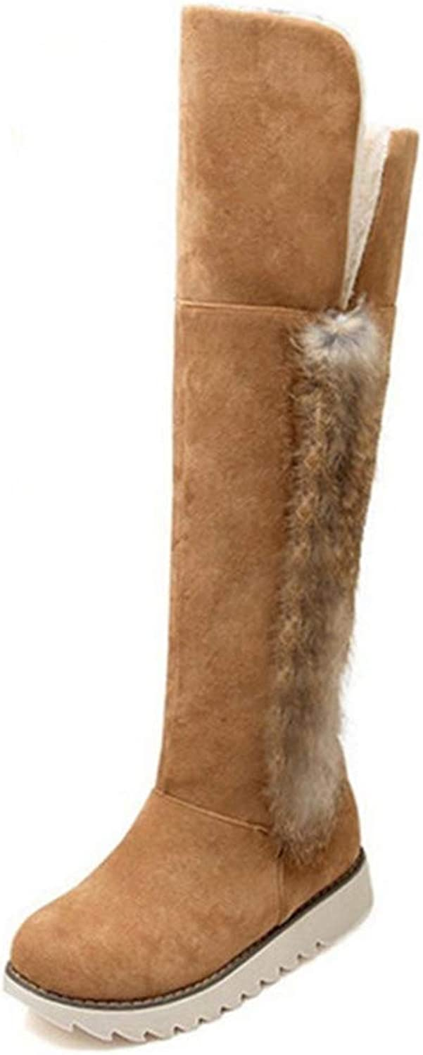 Hoxekle Women Snow Boots Inter Ladies Suede Fashion Flat Heels Woman shoes Knee High Boots Fur Warm Snow Boots
