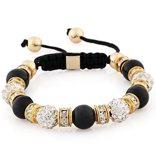 Morella® Damen Armband Steinperlen und Zirkonia Strass verstellbar Gold - schwarz