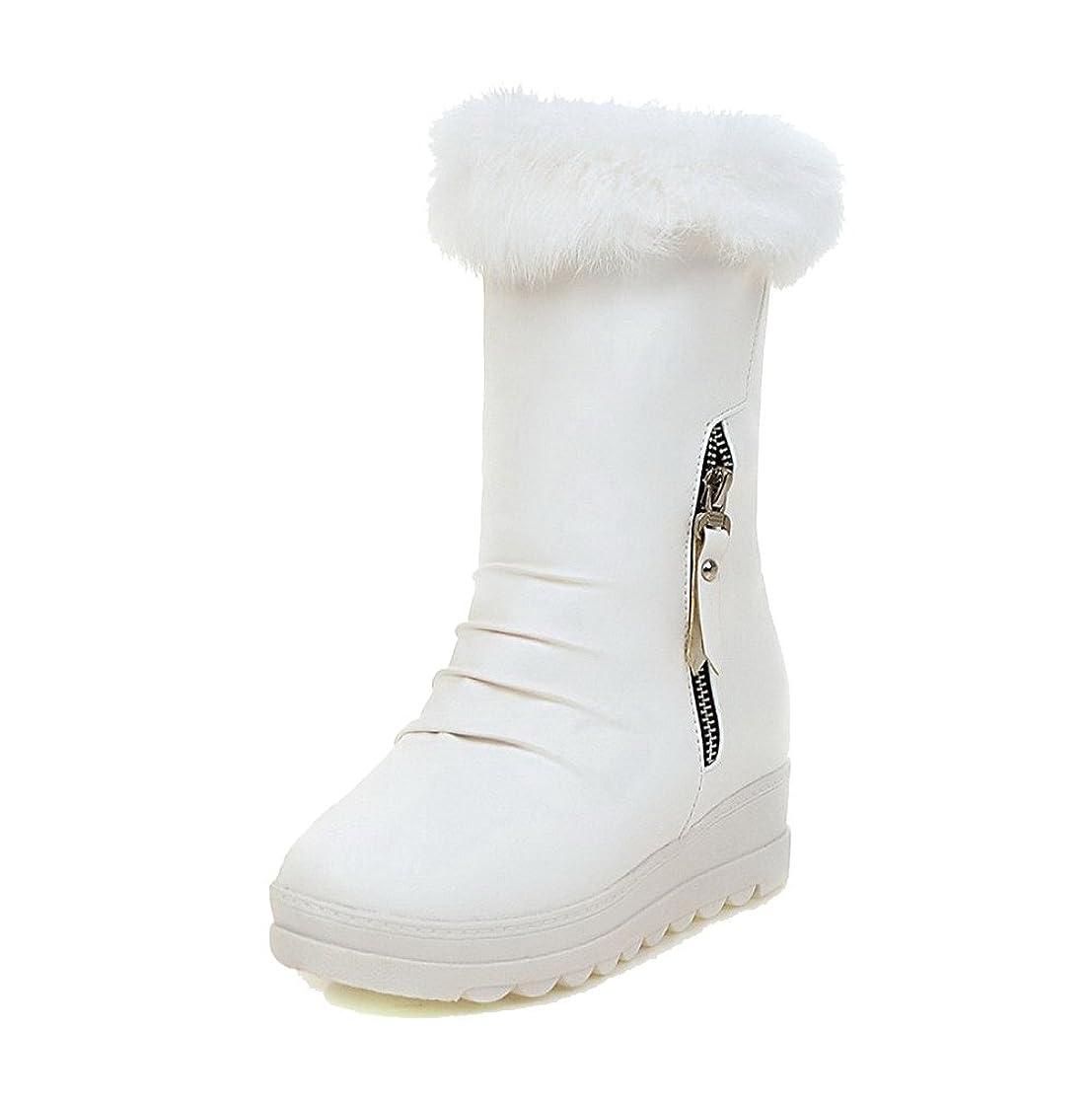 安心させる負一月[オールエイチキューファッション] レディース ラウンドトゥ 中ヒール 柔らかい表面 ミシンで縫い糸 ジッパー ショートブーツ F2AQXE034230