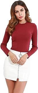 Women's Slim Fit Long Sleeves Ruffle Hem Crew Neck Basic Ribbed Knit Crop Top Tee