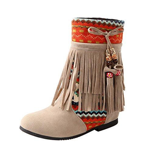 Frestepvie Damen Boots Fransen Stiefeletten Flach Ankle Boots Schlupfstiefel Quasten Ferse Winter...