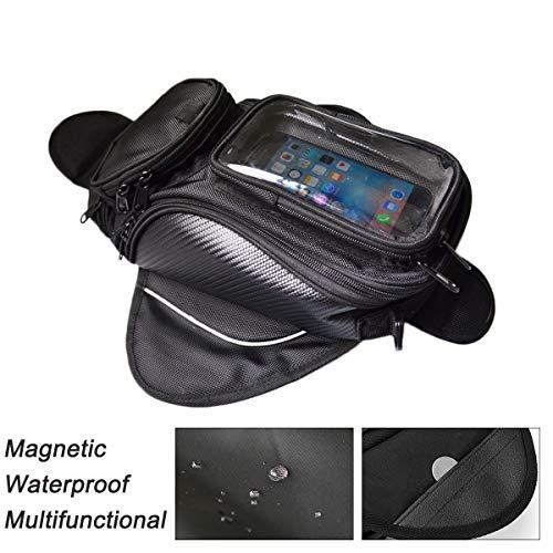 WINNTT Magnetic Waterproof Motorcycle Tank Bag Transparent Visibility PVC Pocket for Mobile Phones Saddle Tank Bag with Strong Magnetic Motorbike Bag Black Pocket