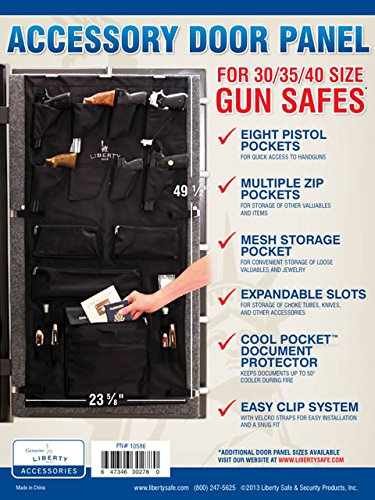 """Liberty Safe Gun Safe Door Panel Organizer for Holding Pistols and Important Documents -- 30-35-40 Size (23 5⁄8"""" x 49 1⁄2"""")"""