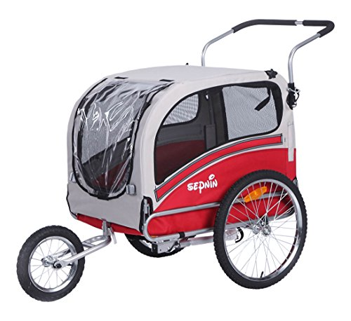 Sepnine Pet Dog Bike Trailer, Red/Grey