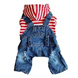 DOGGYZSTYLE Pet Dog Cat Hoodies Clothes Red Striped Denim Outfits Blue Jeans Jumpsuits One-Piece Jacket Costumes Apparel Hooded Coats for Small Puppy Medium Dogs(Red,XL)
