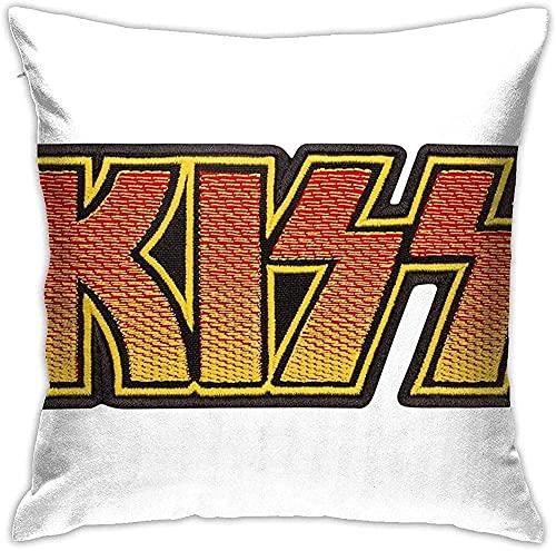 KINGAM Funda de cojín cuadrada decorativa de Rock and Roll Music Ki-Ss, cómoda y duradera, para decoración del hogar, para sofá, cama, silla, 45,7 x 45,7 cm