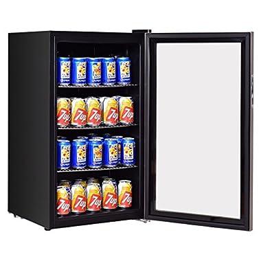 Costway 120 Can Beverage Refrigerator Beer Wine Soda Drink Beverage Cooler Mini Fridge (Black)