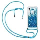 HülleLover Handykette Handyhülle für Huawei P Smart 2019, Glitzer Flüssig Bewegende Treibsand Transparent Silikon Hülle mit Kordel zum Umhängen Necklace Phone Hülle Band für Honor 10 Lite, Blau