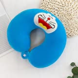 Almohada en forma de U almohada de viaje de espuma de memoria de rebote lento, avión de oficina, almohada para el cuello del coche, almohada cervical-Azul cartoon_33 * 30