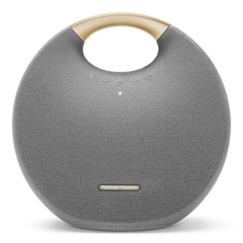 Harman Kardon Onyx Studio 6 Wireless Bluetooth Speaker - IPX7 Waterproof Extra Bass Sound System with Rechargeable Battery and Built-in Microphone - Gray