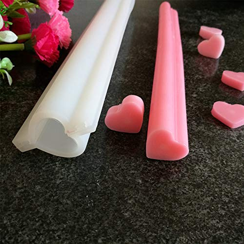 Heart Shaped Silicone Mold Tube Column Mold Handmade Soap Mold Candle Mold Chocolate/Cake/Mousse/Loaf Baking Tools by EORTA for DIY Craft Dessert Clay Party Decoration, White