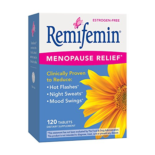 Remifemin, Black Cohosh, Clinically Proven Estrogen-Free Menopause Relief Supplements, 120 Count