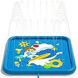 Peradix Splash Pad Tapete de Agua Chapoteo Almohadilla Aspersor de Juego PVC Salpica de Jueg Agua (Azul)