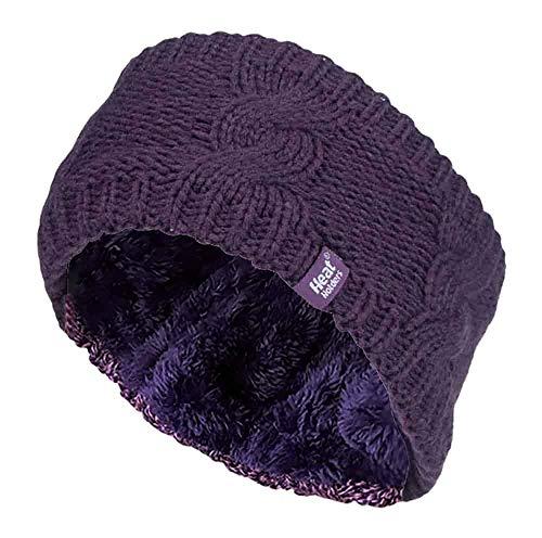 HEAT HOLDERS - Femme Tricot Large Polaire Chaud Hiver Cache Oreilles Bandeau (Headband) (One Size, Purple)