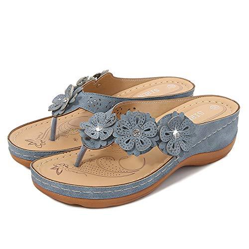 Color Sólido Azul Clip De Fondo Grueso Pies Zapatillas De Mujer Sandalias Casuales De Playa Para Mujer Sandalias Femeninas Tacón De Cuña Zapatos De Mujer