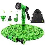IGC Flexibler Gartenschlauch 30 m - Wasserschlauch Flexibel Knick mit 7-Funktions-Handbrause für Rasenbewässerung/Haustierreinigung/Autowäsche, Adapter 1/2 Zoll & 3/4 Zoll (30)