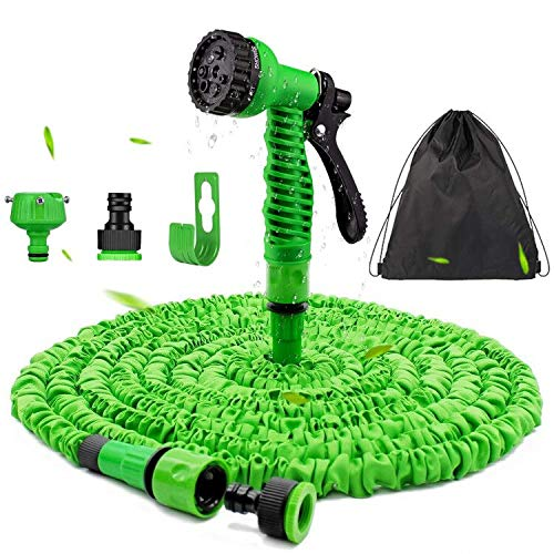 Flexibler Gartenschlauch 30 m - Wasserschlauch Flexibel Knick mit 7-Funktions-Handbrause für Rasenbewässerung / Haustierreinigung / Autowäsche, Adapter 1/2 Zoll & 3/4 Zoll (30)
