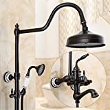 Bijjjaladeva - Rubinetto miscelatore per doccia a pioggia, stile antico, per doccia e vasca da bagno, con sistema di miscelazione a pioggia calda e fredda, colore: nero rame