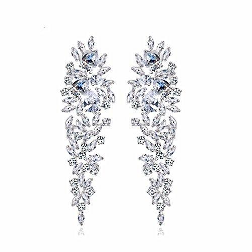 GULICX Luccicanti orecchini pendenti placcati in argento, stile Art déco, decorazione a forma di foglie, con zirconi, per sposa