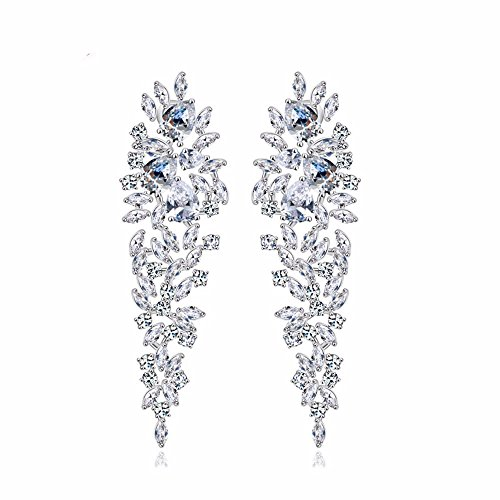 GULICX Shinning Cubic Zirconia Art Deco Leaf Drop Chandelier Dangle Earrings Bride Silver Plated Base