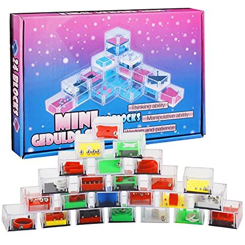 24 Piezas Mini Juegos Rompecabezas,Rompecabezas Set,Puzzles Mini Juegos Set,Puzzle Juegos con Niveles Diferentes,Juegos de Habilidad,Navidad Niños y Adultos Juegos