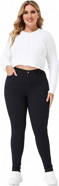 panlndamaris Large Size Work Pants for Women Stretchy Slim Tight Black Pants with Pockets