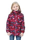 DILIBA Girl's Rain Jackets Lightweight Waterproof Fleece Hooded Raincoats Windbreakers Full Zip-Up Winter Warm for Kids Coat Wine Red Heart 9-10 Years