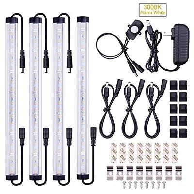 SUNWOW Motion Sensor LED Under Cabinet Lighting Kit - 4pcs Extendable Under Counter LED Light Bar for Gun Box, Locker, Closet, Shelf, Reception Desk, Kitchen, Show Case Lighting
