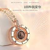 2020 Nuevo Collar de Plata S925 Memory Love 100 Idiomas Te Amo Proyección Cadena de clavícula Femenina, Plata esterlina Redonda Oro Rosa