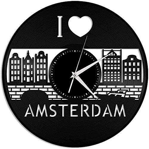 Wandklok I Love Amsterdam Vinyl Wandklok Skyline Exclusieve Souvenir Home Decor Retro Design Kantoor Kamer Home Decor