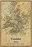 Pakistan Faisalabad Landkarte, Wandkunst, Poster,