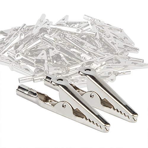 YuCool - Juego de 50 pinzas de cocodrilo de metal de 52 mm, chapado en níquel plateado para pruebas eléctricas de laboratorio y clip de cable