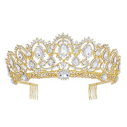 FAPROL Reina Barroco Tiara, Joyas para El Pelo con Corona Novia, Exquisitas...