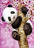 Reofrey 5D Pintura Diamante Panda árbol Rosa Bricolaje Completo Taladro Arte, Diamond Painting Diamantes Imitación Bordado Pegatinas de Pared Decoración de La sala 30x40cm