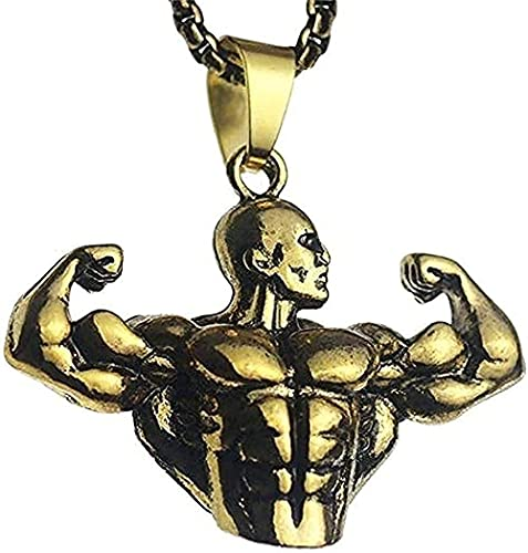 Preisvergleich Produktbild WYDSFWL Halskette 2021 Neue Halskette mit starkem Charakter Anhänger übertrieben für Herren Gold Bodybuilding Muskulöse Arm Statue Anhänger Halskette Geschenk