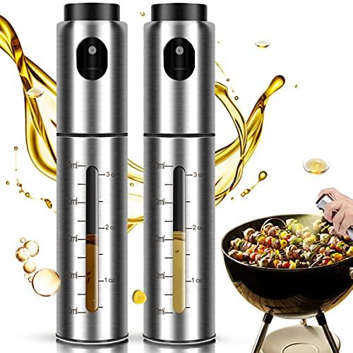YOGINGO 2 Stück Ölsprüher für Speiseöl, Öl Sprühflasche 100ML Edelstahl für Olivenöl Öl Spray, Essig und Ölspender, Ölspray Ölflasche für Cooking, Grillen, Backen, Salat, Kochen, Braten