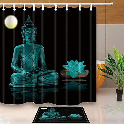 ZonaloDutt Buddha Duschvorhang Schwarz Duschvorhang Buddha Zen Waterproof