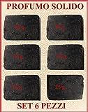 6 x Profumo Solido all' Ambra Grigia con note di Sandalo e Patchouli 25 g cad x 6 pz...